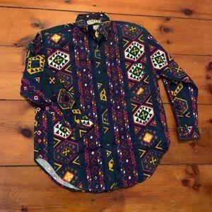 90s Aztec Print Vintage Shirt